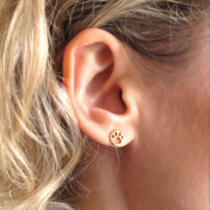 Gold Paw Earrings - Tiny Paw shaped..