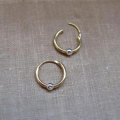 Endless Earrings Small Gold Hoop Earrings With Silver Bead