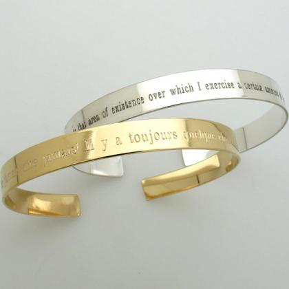 Personalized Gold Cuff Bracelet For Men Custom Engraved