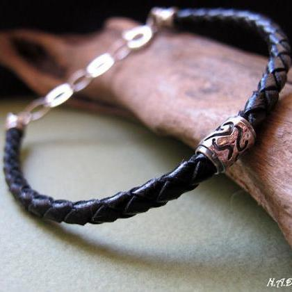 Black Leather Bracelet for Men, Men..