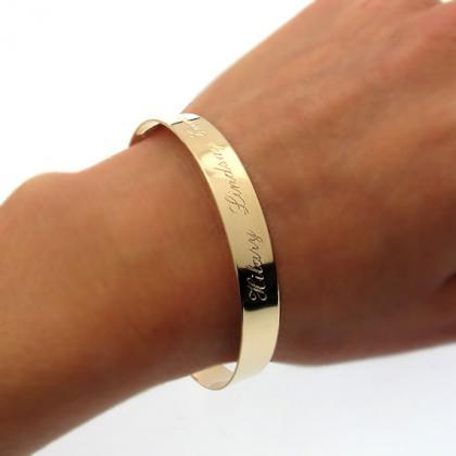 Personalized Gold Bangle Bracelet -..