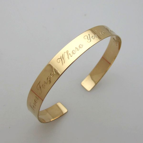 Personalized Gold Cuff Bracelet Custom Engraved Bangle Anniversary Gift For Her Inspirational Quote