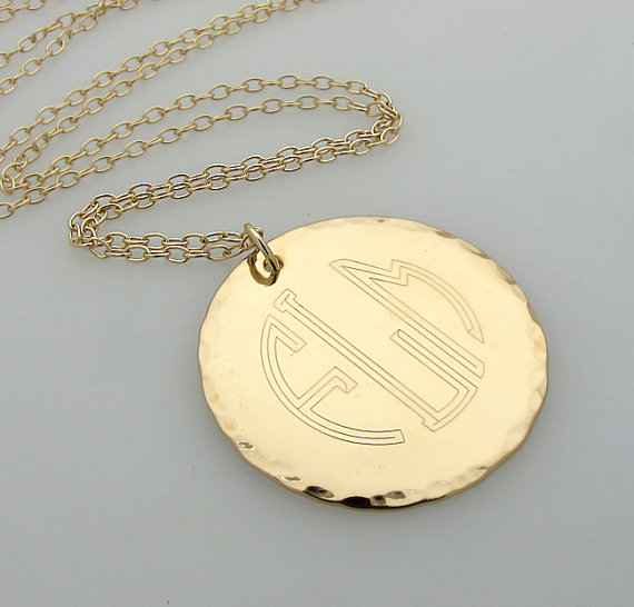 6e14e928c3161f Initial Monogram Pendant - Engraved Gold Monogram Necklace - Personalized  Necklace - Gold initial necklaces - 3 Letters Pendant