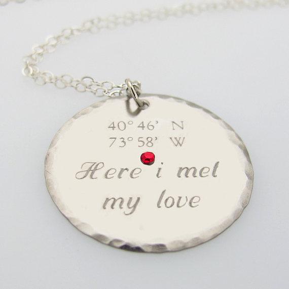 Latitude Longitude Pendant - GPS Engraved Necklace - Romantic Gift ...