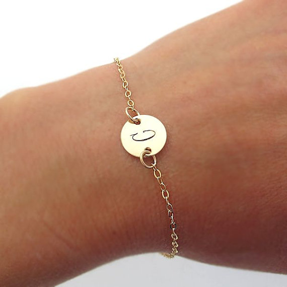 Gol Initial Bracelet Minimalist Gold Filled Personalized For Her Disc