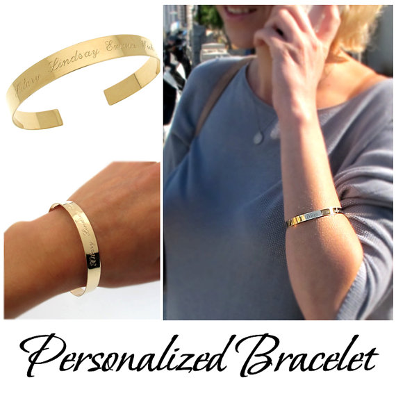 Perosnalized Gold Cuff Bracelet Custom For Her Engraved Open Bangle Personalized