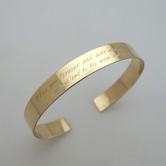 Inspirational Quote Bracelet Two Rows Engraved Cuff Gold Custom Bangle