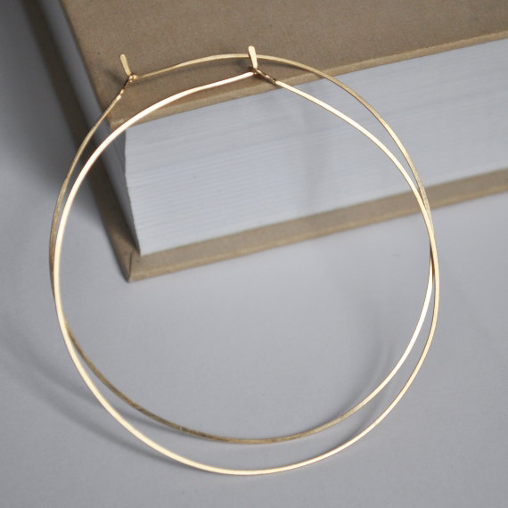 Gold Hoop Earrings Lightweight Hoops In Filel Medium Fashion