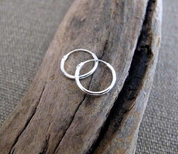 Small Sterling Silver Hoops Medium 15mm Earrings