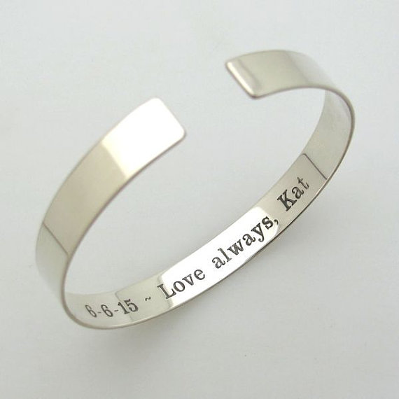 Hidden Message Bracelet Inside Engraved Bangle Cuff Sterling Silver For Her