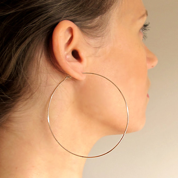 Rose Gold Filled Hoops Earrings Extra Large Elegant