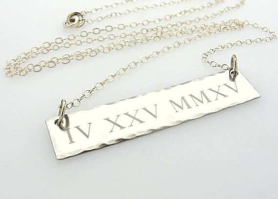 1f64f9c73d8 Personalized Roman Numeral Necklace - Custom Sterling Silver Bar Pendant -  Rectangle Bar Necklace For Her