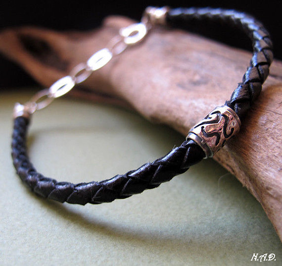 Black Leather Bracelet for Men, Mens Jewelry, Genuine Braided Leather Bracelet with Sterling Silver Bead