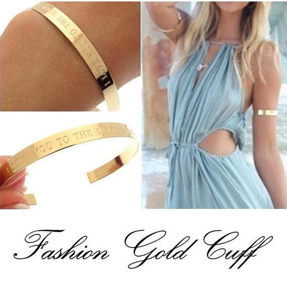 Personalized Gold Bangle Bracelet - Engraved Cuff Bracelet - inspirational Quote Bracelet - Fashion Jewelry